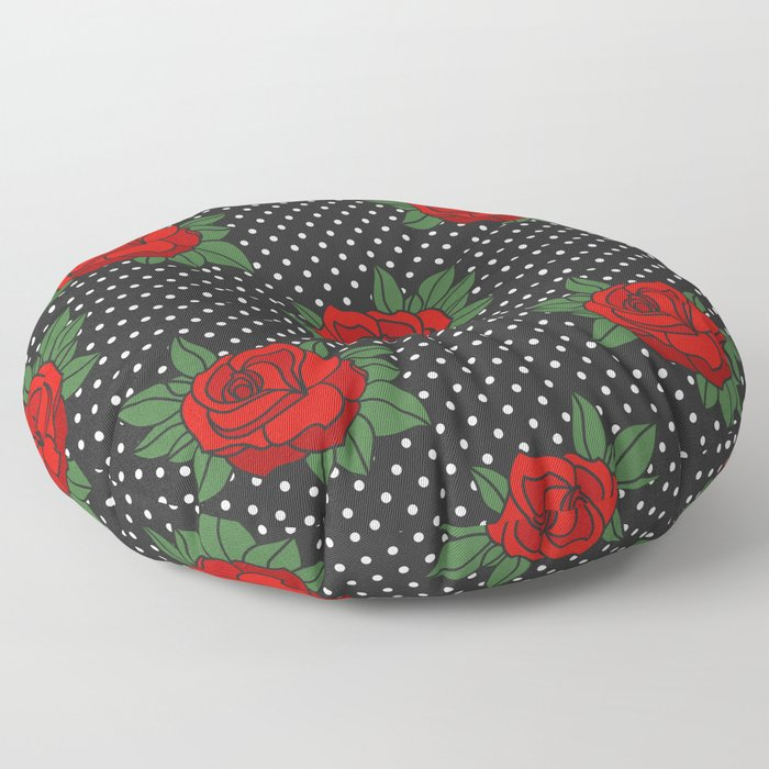 Rockabilly style roses on white polka dots pattern Floor Pillow