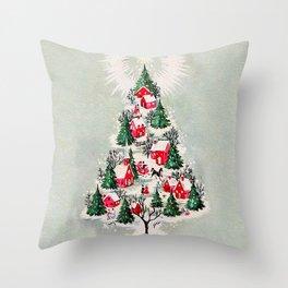 Vintage Christmas Tree Village Throw Pillow