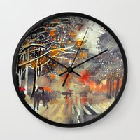 takmaj Wall Clocks featuring WINTER IN THE CITY by takmaj