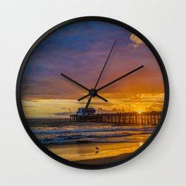 Lone Seagull at Sunset - Newport Pier Wall Clock