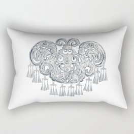 Watercolor Illustration of Chinese Miao traditional silver jewelry | 苗族银饰 Rectangular Pillow