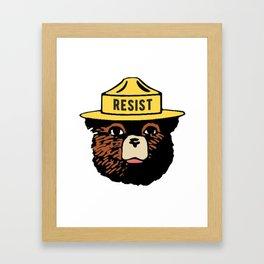 SMOKEY THE BEAR SAYS RESIST Framed Art Print
