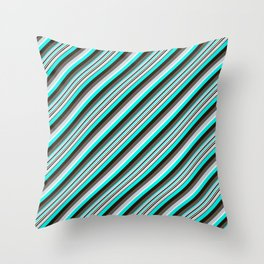Blue Brown Black Inclined Stripes Throw Pillow