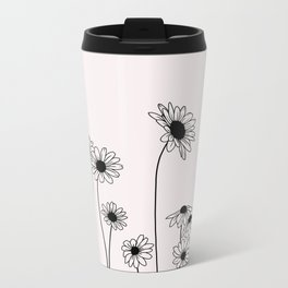 Daisy flowers illustration - Natural Metal Travel Mug