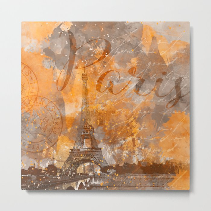 Paris Eifel Tower orange mixed media art Metal Print