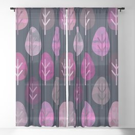 Watercolor Forest Pattern #4 Sheer Curtain