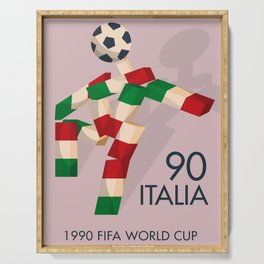 Vintage World Cup poster, Ciao, Italia 90 mascot, old football print Serving Tray