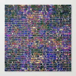 Blue Brick Grunge Wall Canvas Print