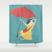 mary poppins Shower Curtains featuring Mary Poppins Apprentice Illustration by rhitown