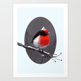 Bird in the snow Art Print