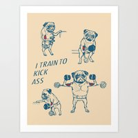 workout Art Prints featuring Pug Workout by Huebucket