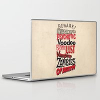 movie posters Laptop & iPad Skins featuring B Movie Beware by ochre7