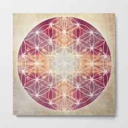 Flower of Life Magenta Metal Print