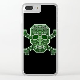 Hacker Skull Crossbones (isolated version) Clear iPhone Case
