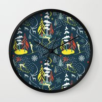 skiing Wall Clocks featuring Retro Skiing  by beach please