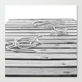 dock, black and white Canvas Print