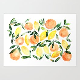 Sicilian orchard: lemons and oranges in watercolor, summer citrus Art Print