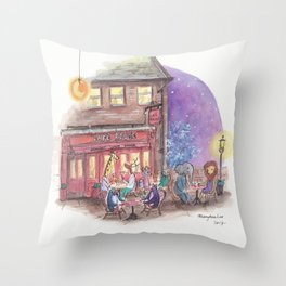 Penguins, giraffe, lion, elephant and others enjoying a night out at Cafe Rouge Throw Pillow