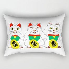 Three Wise Lucky Cats Rectangular Pillow