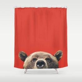 Bear - Red Shower Curtain