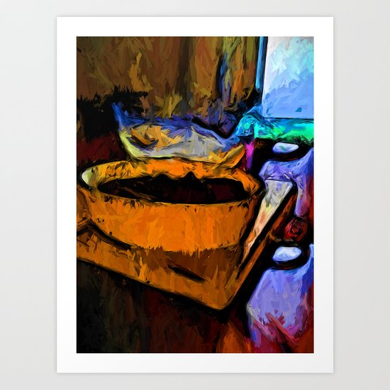 Gold Dish with Chocolate in the Shadow of a Glass Bowl Art Print