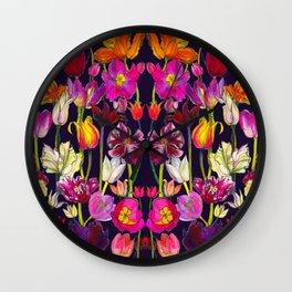 Pink and Orange Tulips Wall Clock