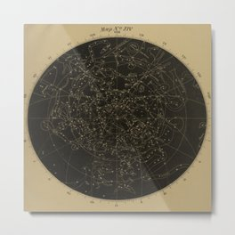 Vintage Astronomy Constellations Star Map Metal Print