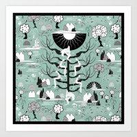 The six princesses (Celadon) Art Print