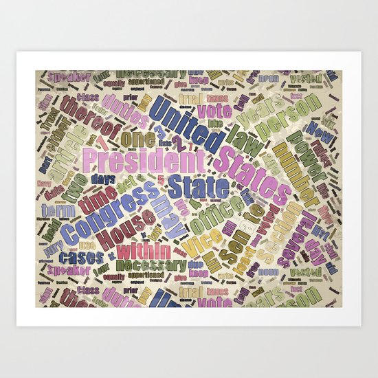 Colorful Constitution Text Graphic Art Print