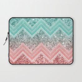 Summer Vibes Glitter Chevron #1 #coral #mint #shiny #decor #art #society6 Laptop Sleeve