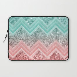 Summer Vibes Glitter Chevron #1 #coral #mint #shiny #decor #art #society6 Laptop Sleeve