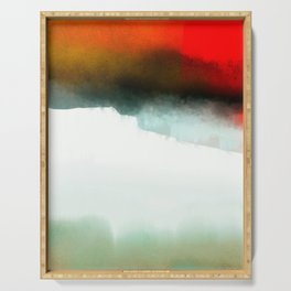 Red, Teal and White Abstract Serving Tray