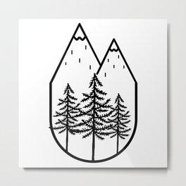 Black Trees Mountain Top Metal Print