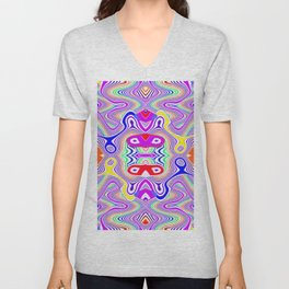 Crazy pattern, colored lines ... Unisex V-Neck