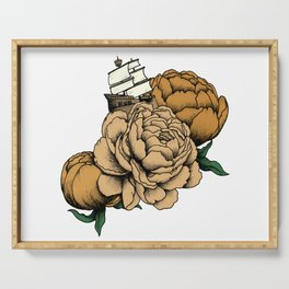 Sailing a Sea of Peonies - Vintage Yellow Serving Tray