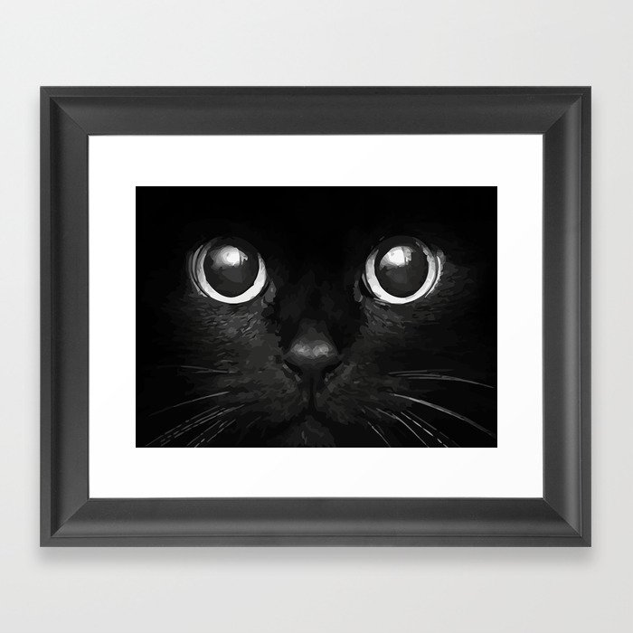 Black Cat Framed Art Print by maioriz | Society6