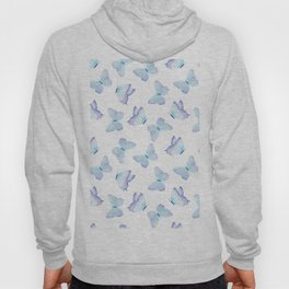 Lilac aqua blue watercolor hand painted butterfly Hoody