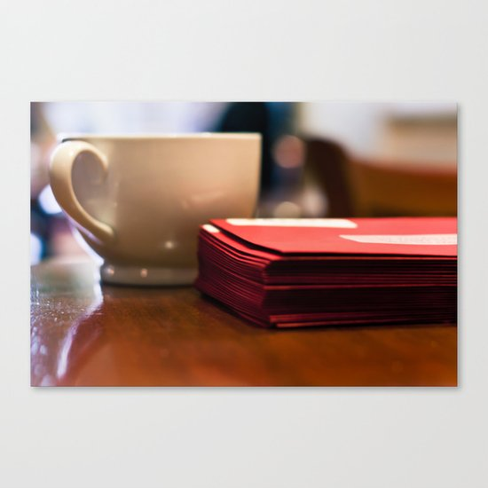 Holiday Cards and Coffee Canvas Print