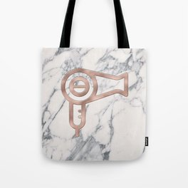 Rose Gold Blow Dryer on Marble Background - Salon Decor Tote Bag