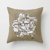 peony Throw Pillows featuring Peony by Mich Li