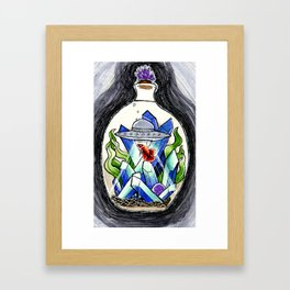 Ufo with a betafish in a crystal fish bowl Framed Art Print