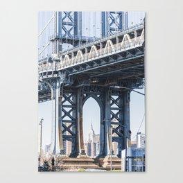 Manhattan Bridge Empire Blue Canvas Print