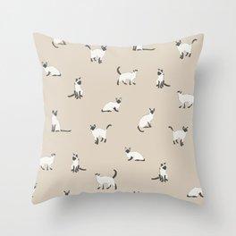 Siamese Kitties Throw Pillow