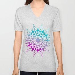 Mandala #2 (Purple Pink Turquiose) Unisex V-Neck