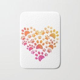 Animal Paws Heart design For Dog Lovers Bath Mat