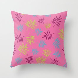 Bright Tropical Palm Leaves Pattern Throw Pillow