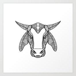 Brahma Bull Head Mandala Art Print