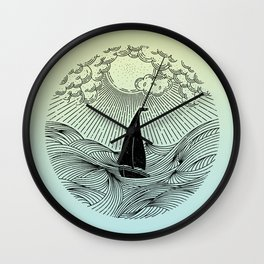 IN THE WAVES OF CHANGE WE FIND OUR TRUE DIRECTION (Blue) Wall Clock