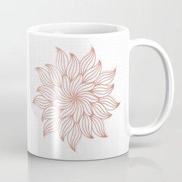 Mandala Floral Rose Gold on White Coffee Mug