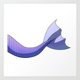 Pastel Indigo Mermaid Tail #ArtofGaneneK #DigitalArt #Scales Art Print